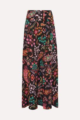 Etro Printed Silk Crepe De Chine Maxi Skirt - Black