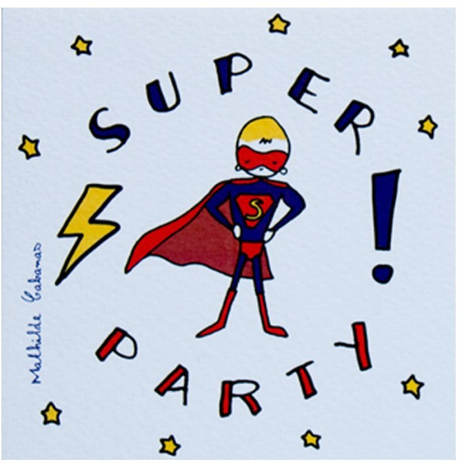 MATHILDE CABANAS Superheroes Birthday Party Invitations - Set of 6