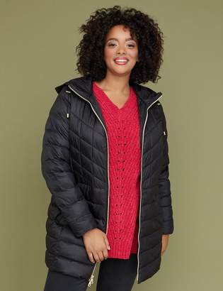 Lane Bryant Midi Packable Puffer Jacket with Thermoplume Technology - Black