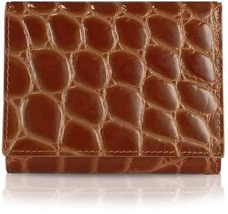 Giorgio Fedon Spiga - Women's Brown Croc Stamped Calfskin Small Wallet