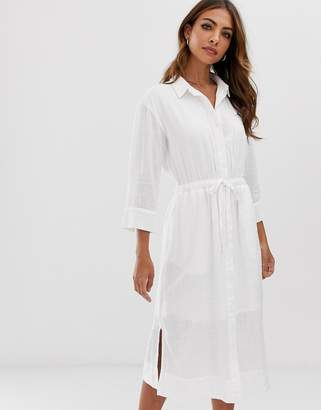 Esprit tie waist midi shirt dress with side slits in white
