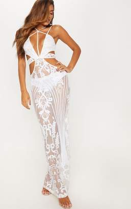 PrettyLittleThing White Sequin Sheer Plunge Cut Out Maxi Dress