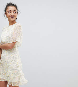 Fashion Union Tall Tea Dress In Pastel Floral