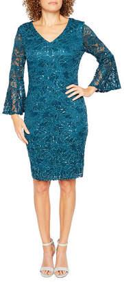 Ronni Nicole 3/4 Sleeve Pattern Shift Dress