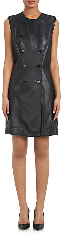 Balenciaga  Balenciaga BALENCIAGA WOMEN'S LEATHER DOUBLE-BREASTED SLEEVELESS DRESS