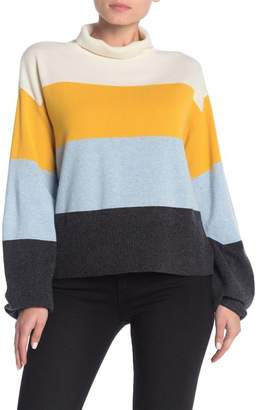 Veronica Beard Faber Colorblock Mock Neck Cashmere Sweater