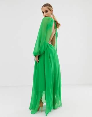 Asos Design DESIGN open back long sleeve midaxi dress with split sleeve detail