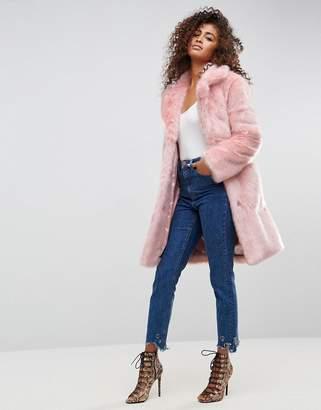 Asos Design Midi Coat in Plush Faux Fur