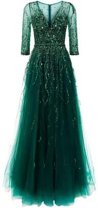 Jovani Embellished V-Neck Tulle Gown