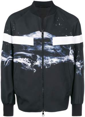 Neil Barrett graphic print tape detail bomber jacket