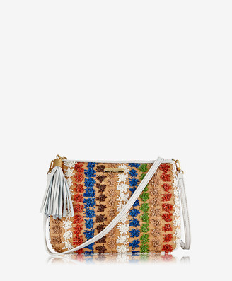 GiGi New York Chelsea Crossbody, White Pom Pom Raffia with Pebble Grain