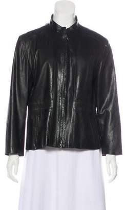 Narciso Rodriguez Leather Collarless Jacket