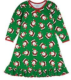 Sara's Prints KIDS' HOLIDAY-PRINT COTTON-BLEND NIGHTGOWN