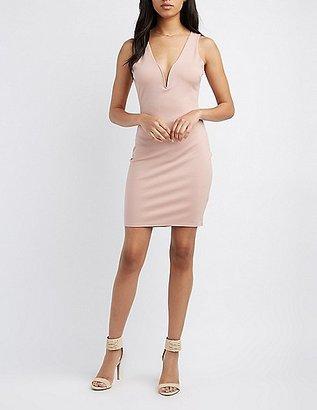 Lattice-Back Plunging Bodycon Dress $28.99 thestylecure.com