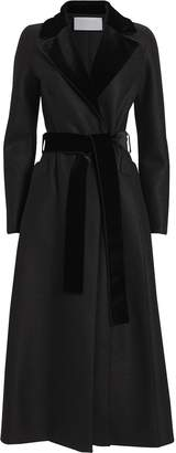 Harris Wharf London Pressed Wool Velvet-Trimmed Duster