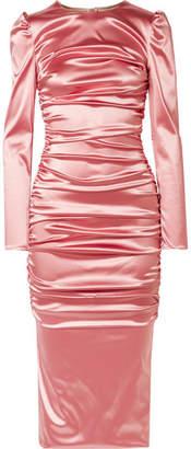 Dolce & Gabbana Ruched Satin Midi Dress - Pink