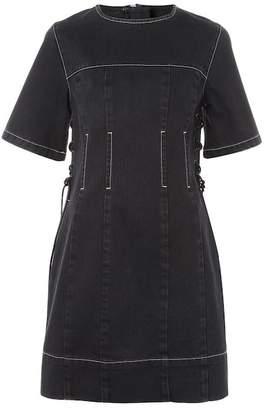 Topshop Lace-Up Denim Dress