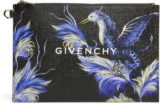 Givenchy Medium Black Feather Bird Faux Leather Pouch
