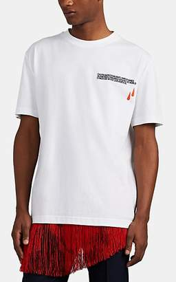 Calvin Klein Men's Logo-Embroidered Blood-Drops Cotton T-Shirt - White