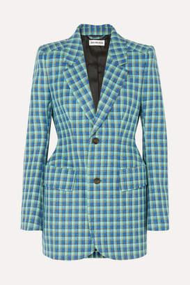 Balenciaga Hourglass Checked Wool Blazer - Blue