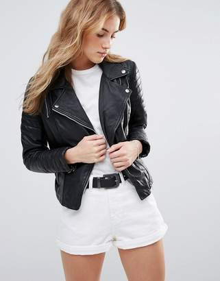 Muubaa Fitted Leather Jacket $364 thestylecure.com