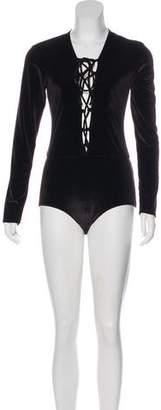 Reformation Long Sleeve Velvet Bodysuit