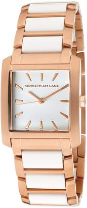Kenneth Jay Lane Women's KJLANE-1612 Dial Rose Gold Ion-Plated Stainless Steel and Resin Watch