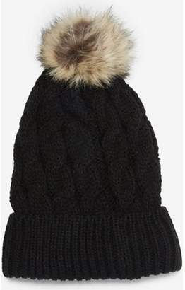 Dorothy Perkins Womens Black Cable Knit Pom Hat