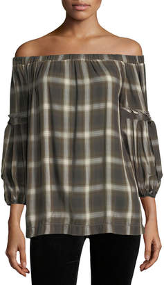 Max Studio Plaid Off-the-Shoulder Top