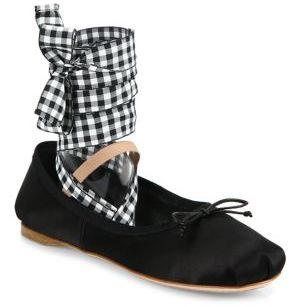 Miu Miu Satin Lace-Up Ballet Flats $575 thestylecure.com