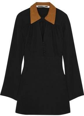 McQ Faux Suede-Trimmed Crepe Mini Dress