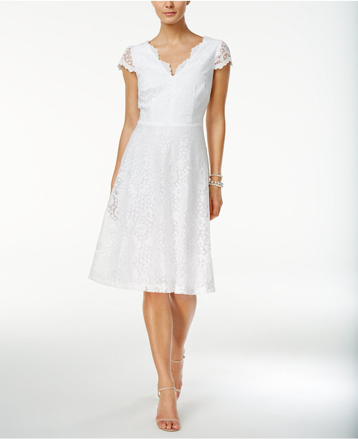 Connected Lace Fit & Flare Dress
