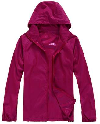 ARJOSA Women's Outdoor Quick-Dry Waterproof Packable Raincoat Poncho Hooded Jacket (, XL)