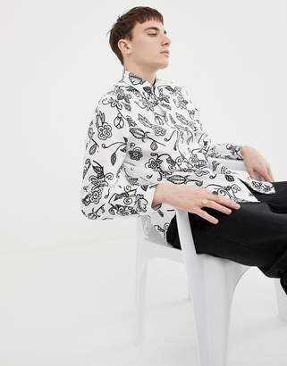 Pretty Green x The Beatles slim fit shirt in white