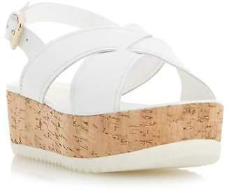 Dune Ladies KRAFT Crossover Strap Flatform Sandal in White Size UK 8