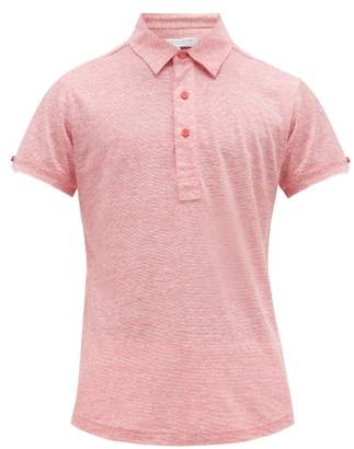 Orlebar Brown Sebastian Striped Linen Polo Shirt - Mens - Pink