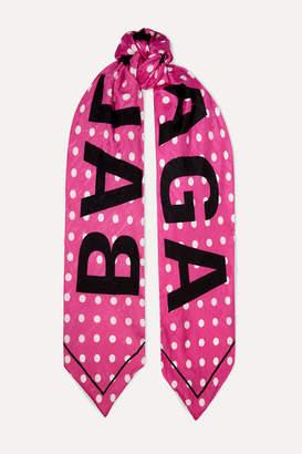 Balenciaga Polka-dot Silk-jacquard Scarf - Bright pink