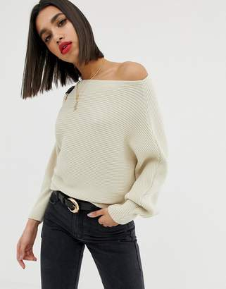 Asos Design DESIGN off shoulder jumper in ripple stitch