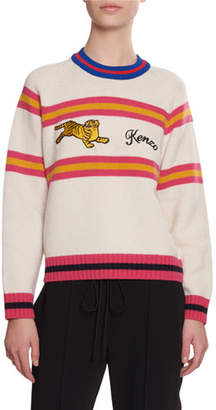 Kenzo Jumping Tiger Striped Wool Sweater