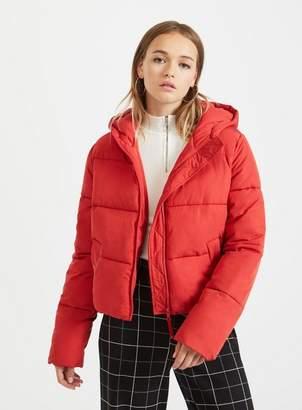 Miss Selfridge Red sporty crop puffer coat