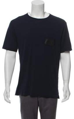 Gucci Leather-Accented Crew Neck T-Shirt w/ Tags navy Leather-Accented Crew Neck T-Shirt w/ Tags
