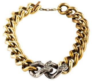 Lanvin Two-Tone Crystal Curb Chain Necklace