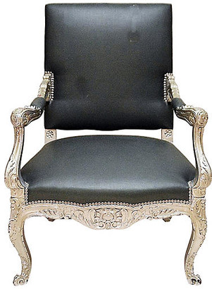 One Kings Lane Vintage Antique Silvered Armchair - House of Charm Antiques