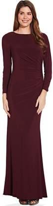 Adrianna Papell Dark Burgundy Draped Jersey Maxi Dress