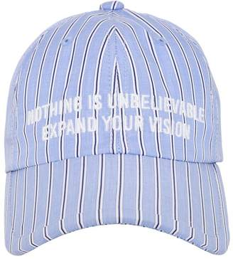 Quote Embroidered Striped Cotton Hat