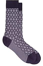Barneys New York MEN'S DIAMOND-TEXTURED COTTON-BLEND MID-CALF SOCKS-PURPLE
