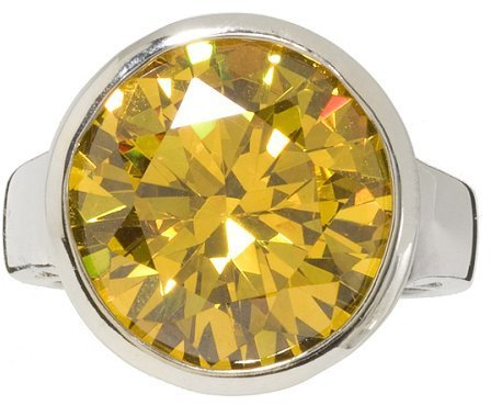 Round Yellow Cubic Zirconia Ring