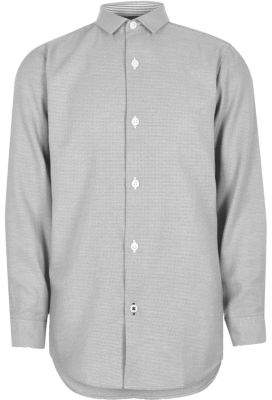 River Island Boys grey textured smart shirt