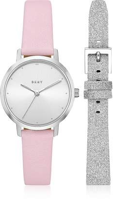 DKNY The Modernist Silver Tone Leather Watch Set