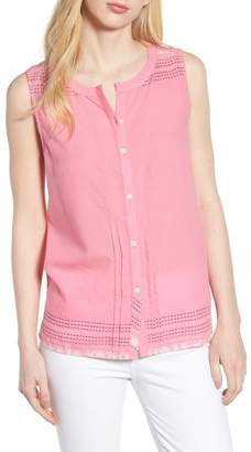 Caslon Embroidered Cotton Sleeveless Blouse (Regular & Petite)